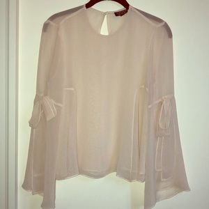 Sheer Feminine Top with Bow Sleeves